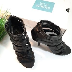 Call it Spring Strap Weave Ankle Bootie Heels